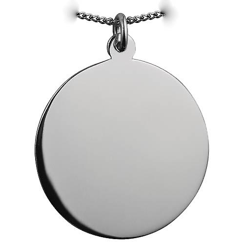Silver 30mm round plain round Disc with a curb Chain 22 inches