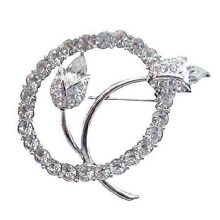 Vintage Tulip w/ Simulated Diamond In Circle Brooch Pin
