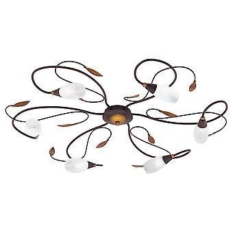 Eglo - Gerbera 1 6 light modern flush ceiling light antique brown/gold finish glass shades EG90697