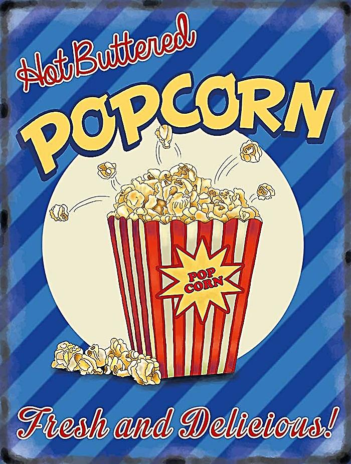 Hot Buttered Popcorn large metal sign  400mm x 300mm   (og)
