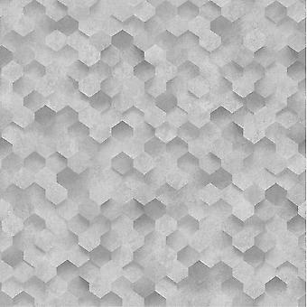 3D Effect Honeycomb Hexagon Geometric Luxury Wallpaper Paste The Wall Vinyl P+S Silver/Grey