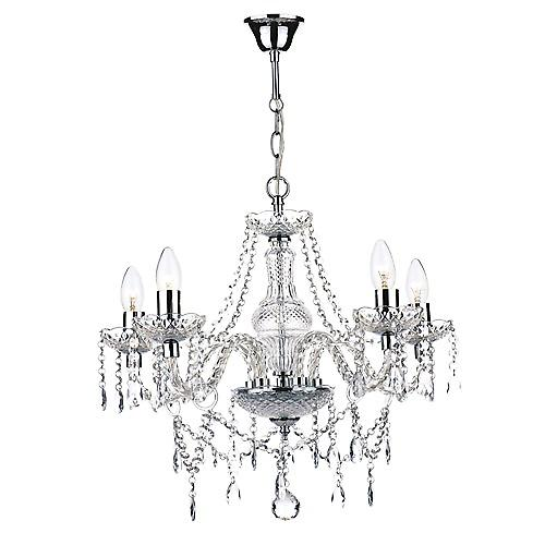 Dar KAT0550 Katie Contemporary 5 Arm Glass Crystal Chandelier