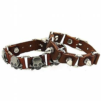 OOTB 2pack Gents Brown Leather Linked Bracelets With Metal Studs FJ1284