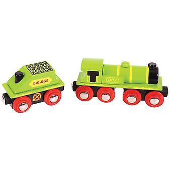 Bigjigs Rail Wooden Big Green Engine Carriage Locomotive Train Track Accessory