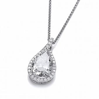 Cavendish French Ornate Silver and Cubic Zirconia Teardrop Pendant