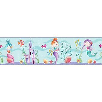 Sirène mer vie océan fond d'écran frontière Childrens chambre jouer chambre Fun 4 murs
