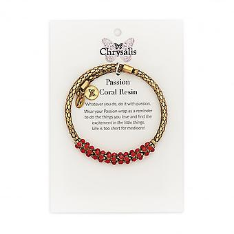 Chrysalis Yellow Gold Plated Passion Coral Resin Wrap Bangle