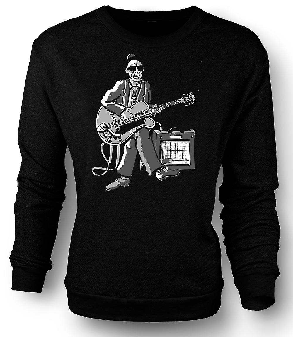 Mens Sweatshirt alten Blues-Gitarrist mit Amp - Musik