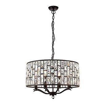 8 Light Ceiling Pendant Dark Bronze, Clear Crystal