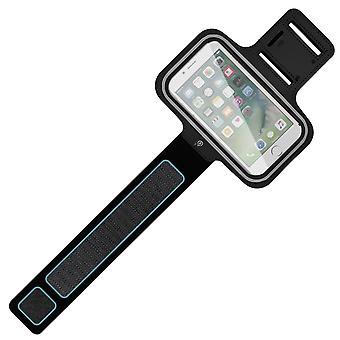 Sports Armband Smartphone Rainproof Case Touch Window Adjustable Strap Black