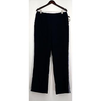 Mossimo Pantalones Lateral Rayas Botón & Cierre de la Cremallera Azul Mujeres
