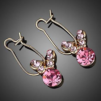 18K Gold Plated Pink Butterfly Stellux Austrian Crystals Drop Earrings, 2.5cm