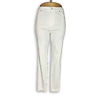 Isaac Mizrahi Live! Women's Jeans Knit Denim Ankle White A272903
