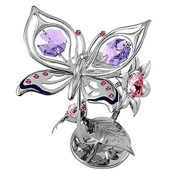 CRYSTOCRAFT Butterfly & Flower Miniature Freestanding Silver Plated Ornament With Swarovski Crystals