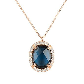 Necklace Rose Gold Sapphire Blue Pendant Gemstone Chain Gift Wedding 925 Sparkle