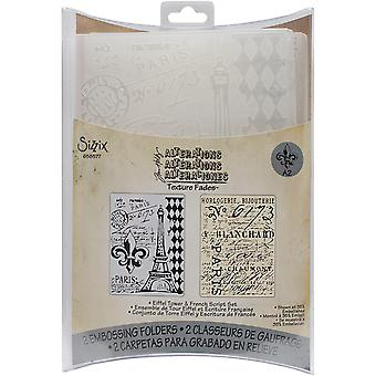 Sizzix Texture Fades A2 Embossing Folders 2/Pkg-Eiffel Tower/French Script By Tim Holtz 658577