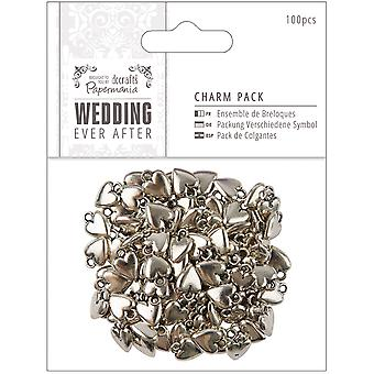 Papermania Ever After Wedding Charms 100/Pkg-Antique Silver Finish Hearts 10mm X 15mm PM158400