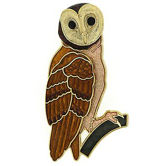 Fine Enamels Large Owl on a Branch Brooch