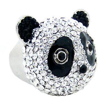 Butler & Wilson Crystal Panda Head Ring Size N