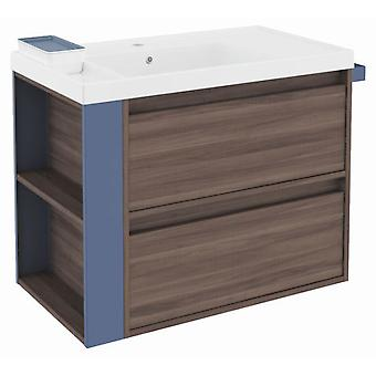 Bath+ Sink cabinet 2 Drawers With Resin Fresno-Blue 80CM
