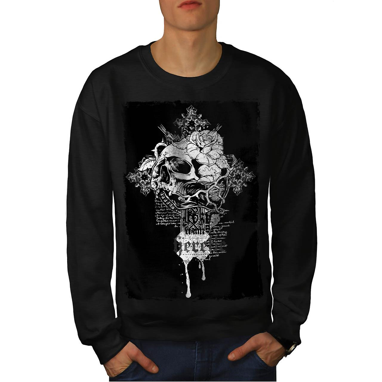 Rose Dead Flower Skull Men Black Sweatshirt | Wellcoda