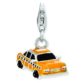 Sterling Silver Enameled Taxi Cab With Lobster Clasp Charm - 3.5 Grams