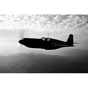 A P-51A Mustang in flight near Chino California Poster Print