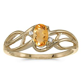 14k Yellow Gold Oval Citrine And Diamond Curve Ring