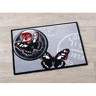 Doormat dirt trapping pad Butterfly retro grey 50 x 70 cm. 101919