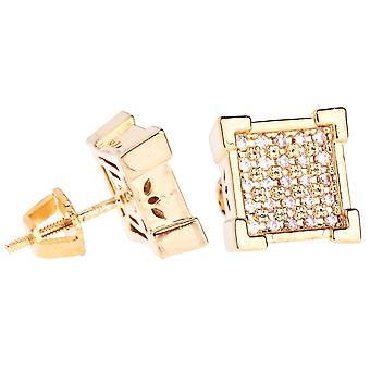 Iced out bling micro pave earrings - KING 10 mm gold
