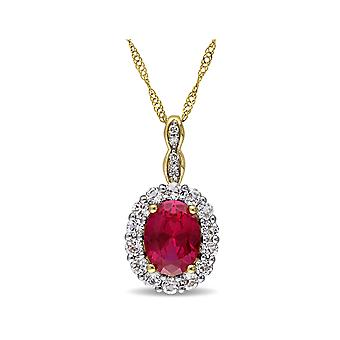 Created Ruby and White Topaz Pendant 2 5/8 Carat (ctw) with Diamonds in 14K Yellow Gold With Chain