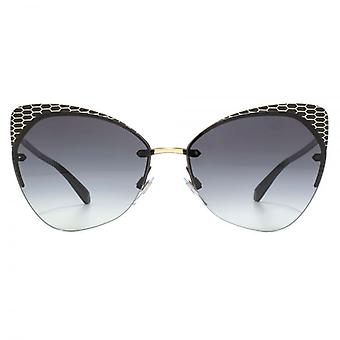 Bvlgari Serpenteyes Rimless Cateye Sunglasses In Matte Black Pale Gold