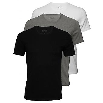 Hugo Boss 3-Pack Regular-Fit Crew-Neck T-Shirts, Black/White/Grey