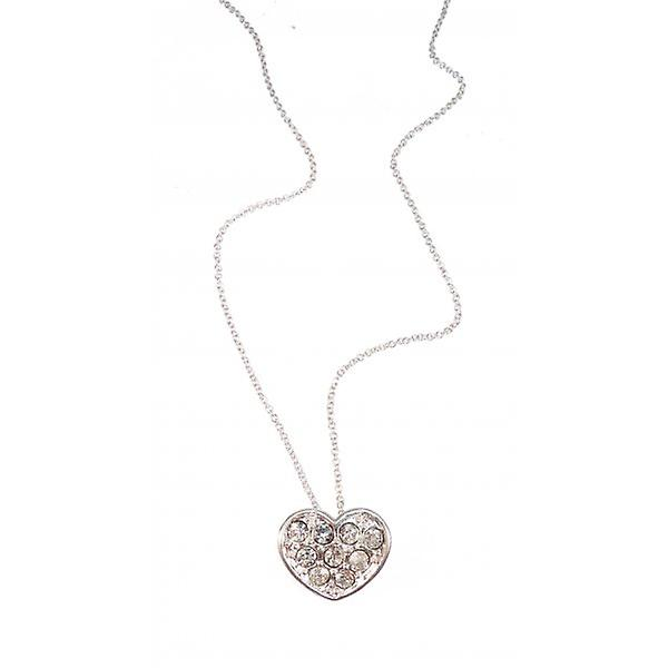 W.A.T Silver Style Sparkling Crystal Heart Shaped Pendant