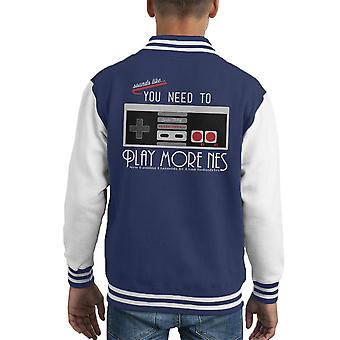 Evolve Today Play More NES Charcoal Bioshock Kid's Varsity Jacket