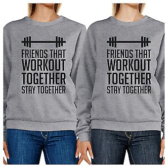 Friends Workout Together Unisex Grey Friends Matching Sweatshirts