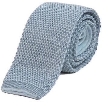 40 Colori Double Threaded Wool and Cotton Knitted Tie - Light Blue/Blue