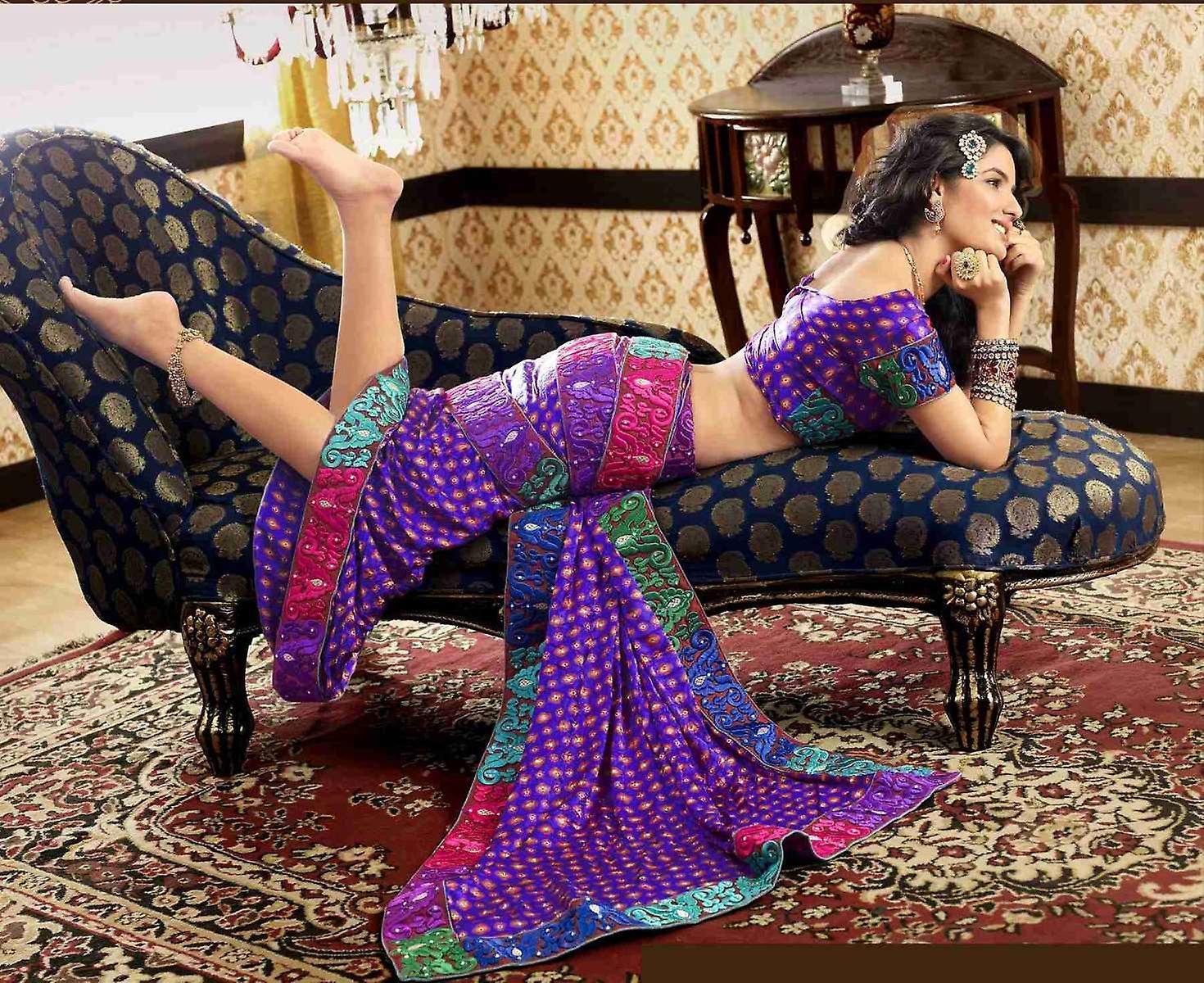 Charita Deep Mauve Faux Crepe Luxury Party Wear Sari saree