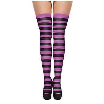 Spooky Striped Black And Purple Hold-Up Stockings