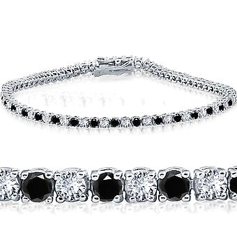 2ct Black & White Diamond Tennis Bracelet 14K White Gold 7