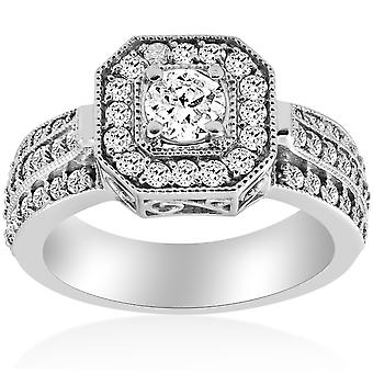 1ct Vintage Diamond Engagement Ring 14K White Gold Halo Round Cut