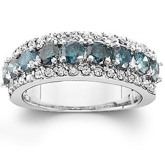 1 1/2ct Blue & White Diamond Wedding Anniversary Ring