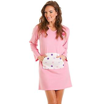 Camille Camille Womens Ladies Fleece Hooded Nightshirt Pink & Spots Sizes 8-18
