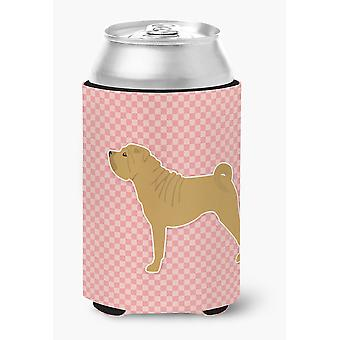 Shar Pei Merry Checkerboard Pink Can or Bottle Hugger