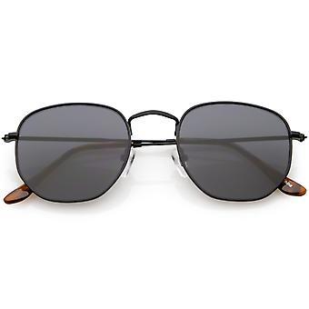 Moderne Sekskantet solbriller Slim Metal Arms nøytralt farget Flat linsen 51mm