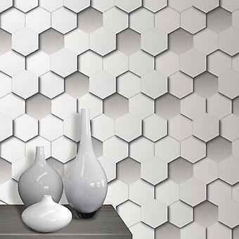 3D Hexagon Wallpaper Geometric Leather Padded Look White Grey