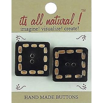 Handmade Horn Toggle Button-Stitches 1-1/4