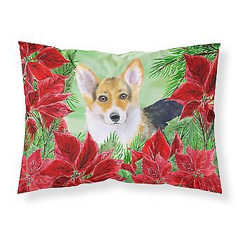 Pembroke Corgi Poinsettas Fabric Standard Pillowcase