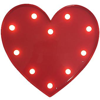 Christmas Shop Red Warm White Light Up Heart Decoration