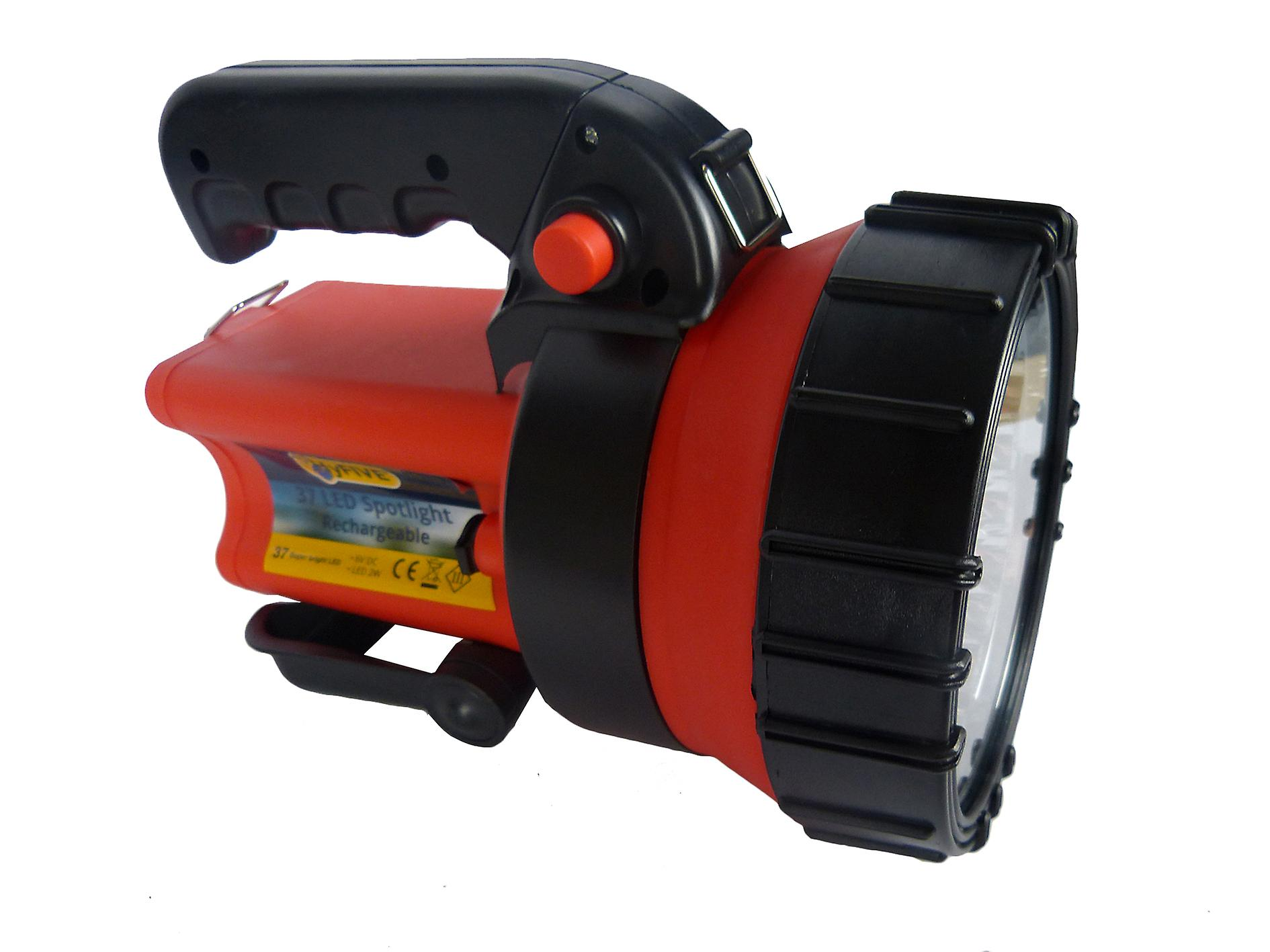 Rechargeable Torch Super Bright 37 LED Spot Lamp Flashlight Torch with Swivel Handle & Stand Battery & Charger Included